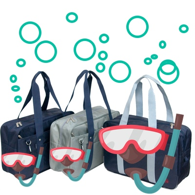 school bags with scuba equipment on them