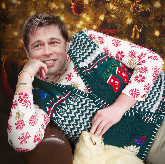 brad pitt christmas sweater