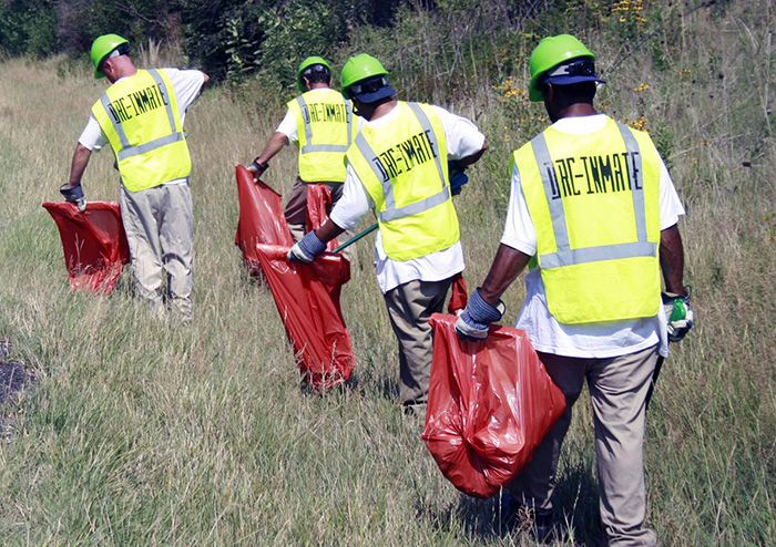 A group of four trash pickers in a field
