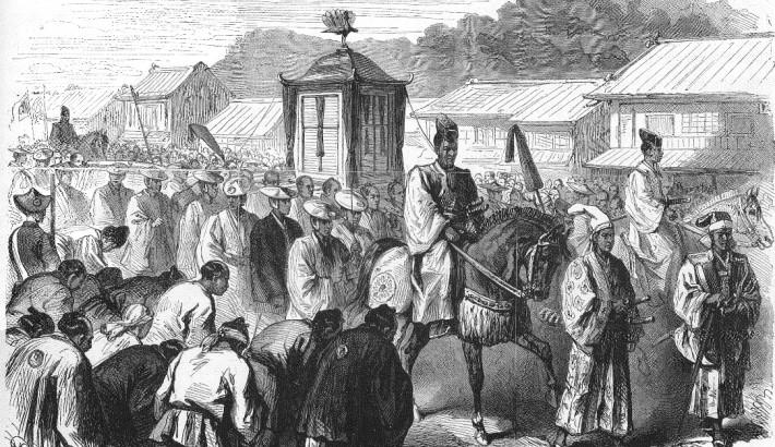 procession of Meiji Emperor to Tokyo