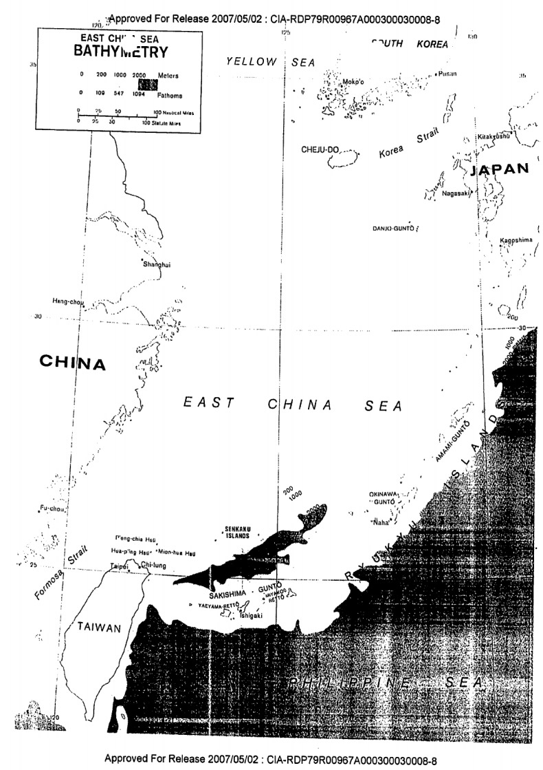 A black and white map of Senkaku Islands' plates