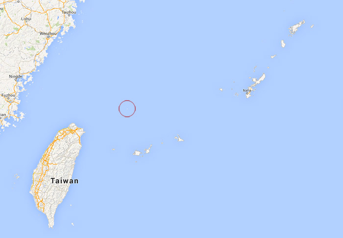 Map of Senkaku Islands proximity to Taiwan