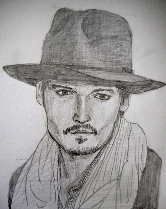 pencil sketch of hybrid of johnny depp and orlando bloom