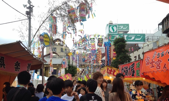 A street packed during Tanabata