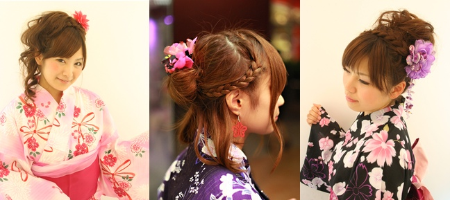 Different hairstyles with yukata