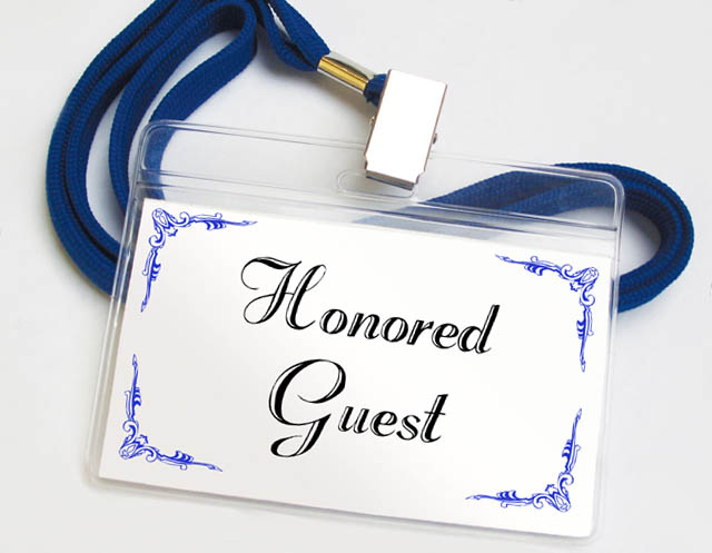 honored guest name tag blue and white