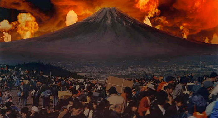 Artist's depiction of Mount Fuji erupting once again