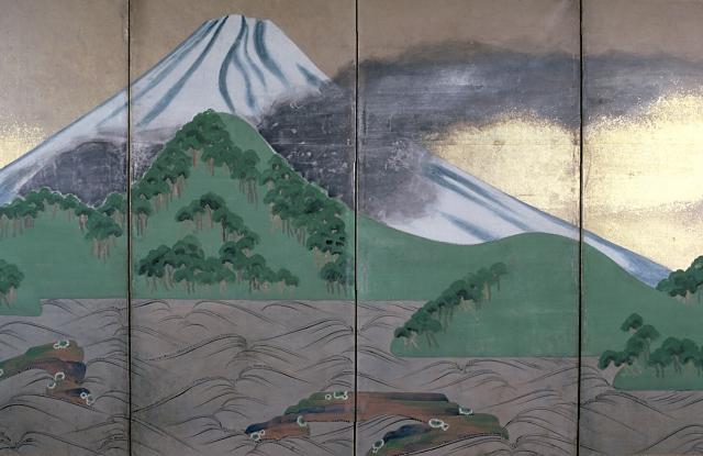 Illustration of smoke from Mount Fuji during the Hoei Eruption