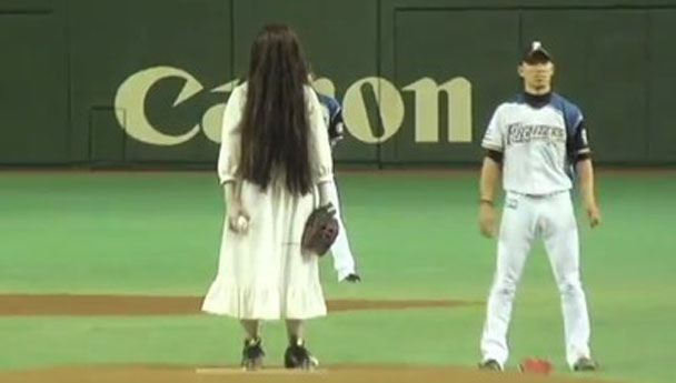 Sadako from The Ring on pitcher mound