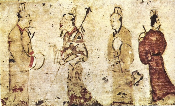 An ancient drawing of four Chinese people