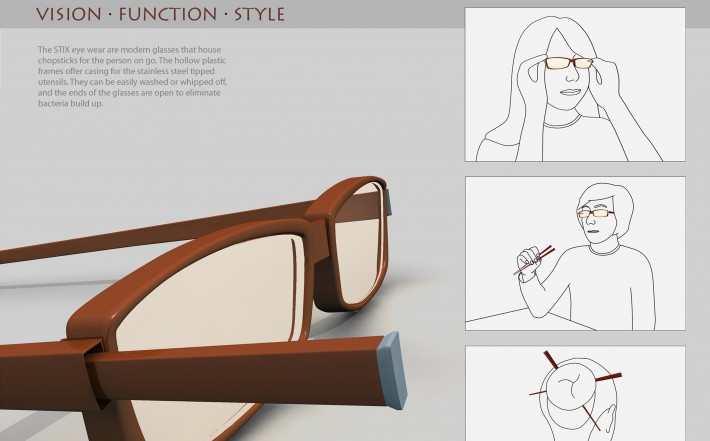 3D mockup of chopsticks that can fit into eyeglasses