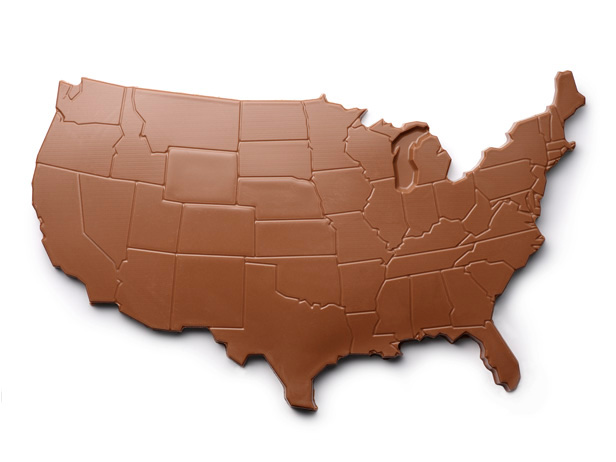 Chocolate shaped as the mainland United States