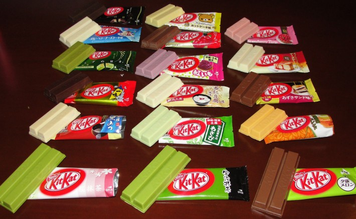 Rows of different flavored Japanese Kitkat bars