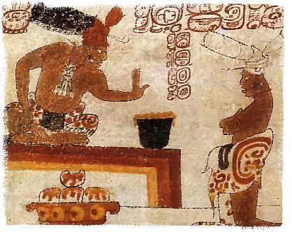 Ancient illustration of Mayans making chocolate