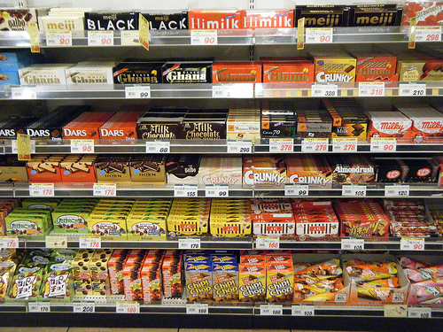 An aisle of various chocolate products