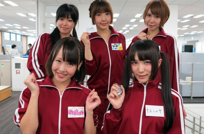 Five Joshi-Mane Bento girls pose for a photo