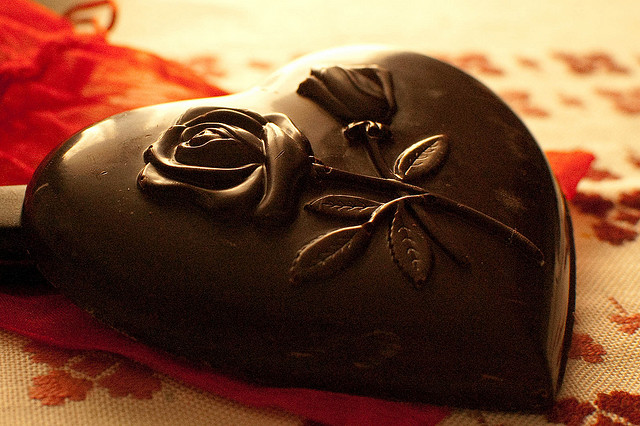 fancy chocolate heart rose mold
