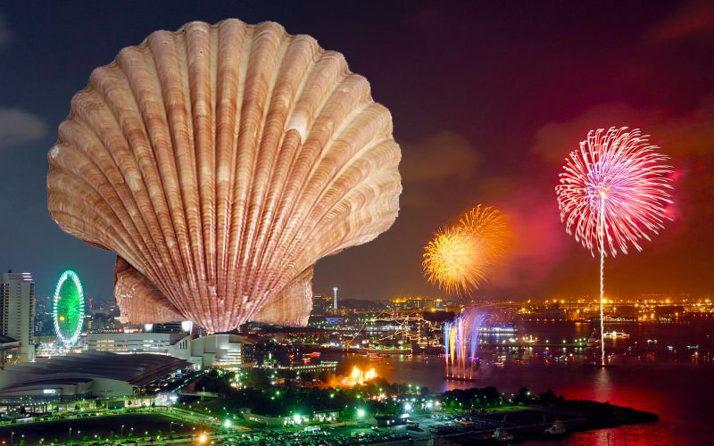 giant scallop fireworks symbolize new years in japan