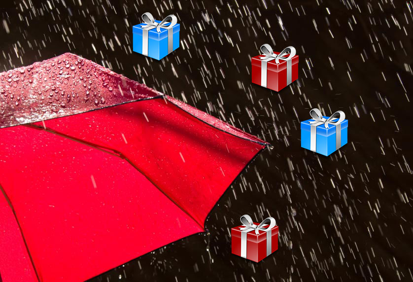 raining presents on a red umbrella
