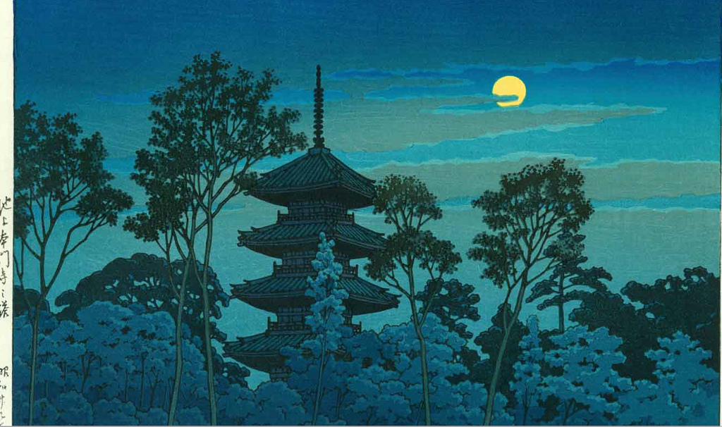 color in japan blue night woodblock print