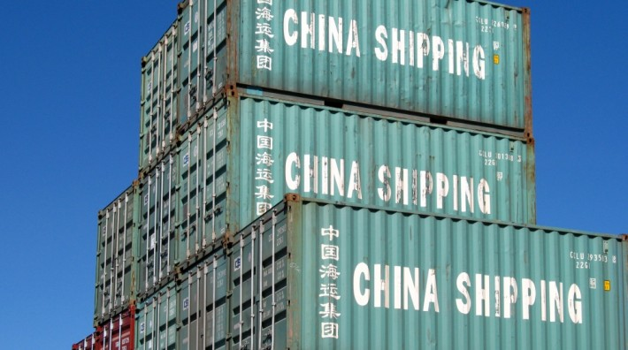 Chinese shipping containers in the Ryukyu Islands