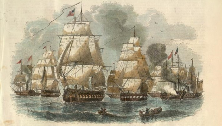 Commodore Matthew Perry's fleet visits the Ryukyu Islands