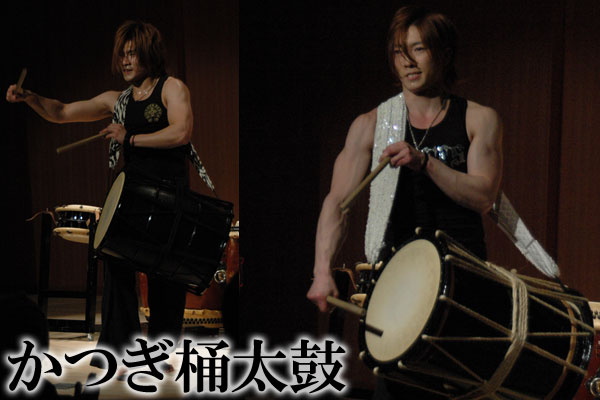 taiko drummer muscles with okedokaiko