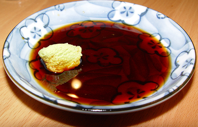 wasabi in soy sauce