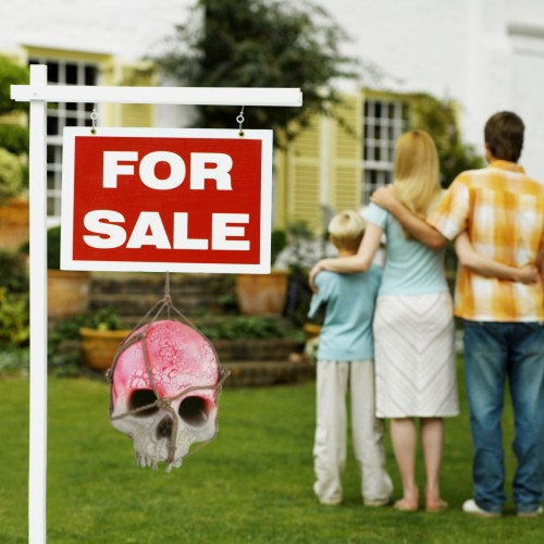 For Sale sign skull