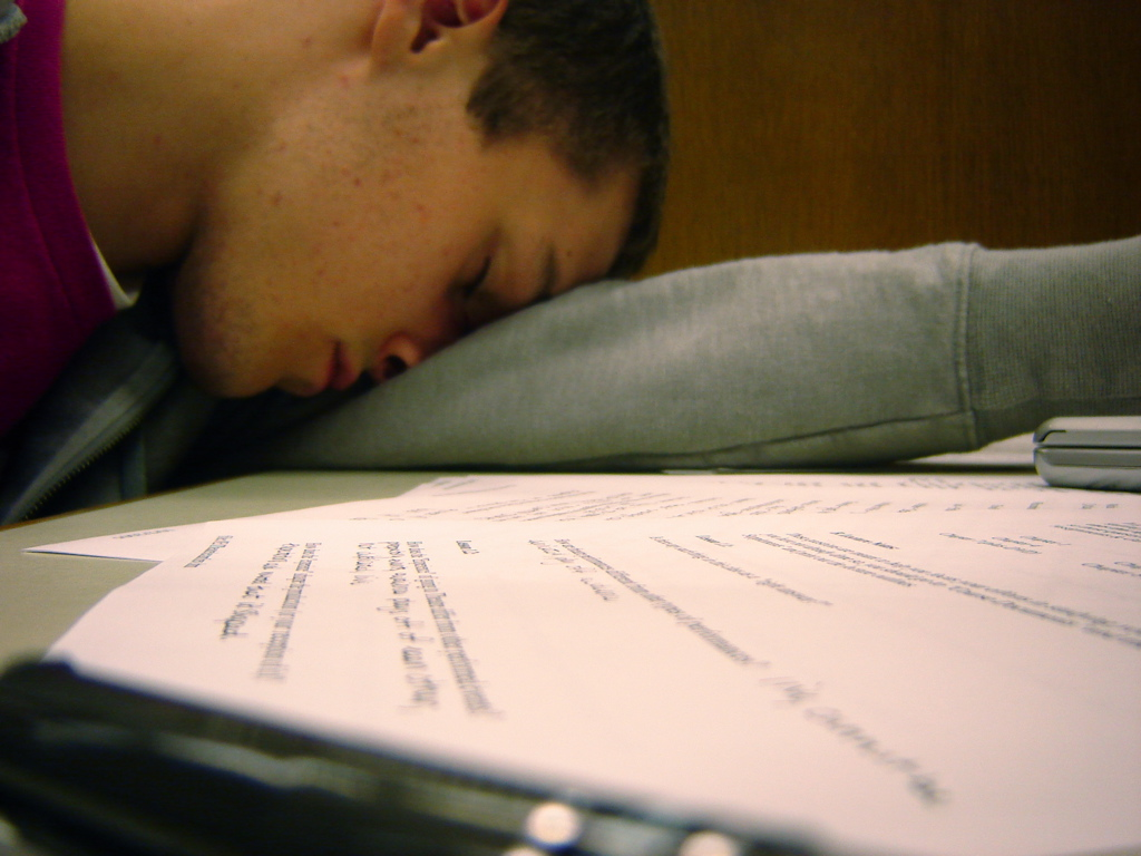 a guy passed out from cramming
