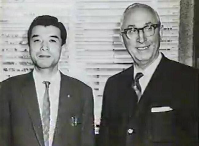 A young Hiroshi Yamauchi with Roy Disney
