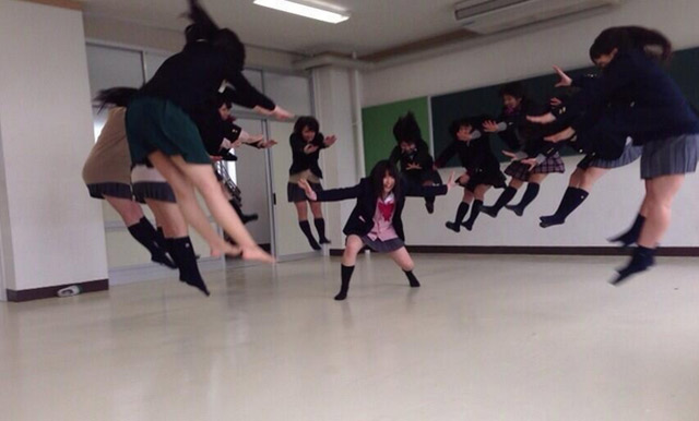 Japanese schoolgirls jumping