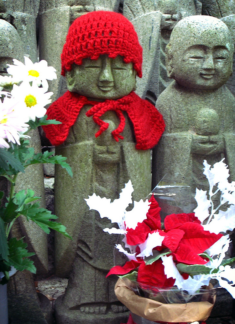 knitting for jizo in red