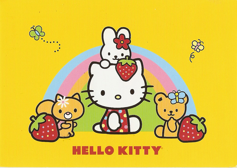 hello kitty and friends yellow background