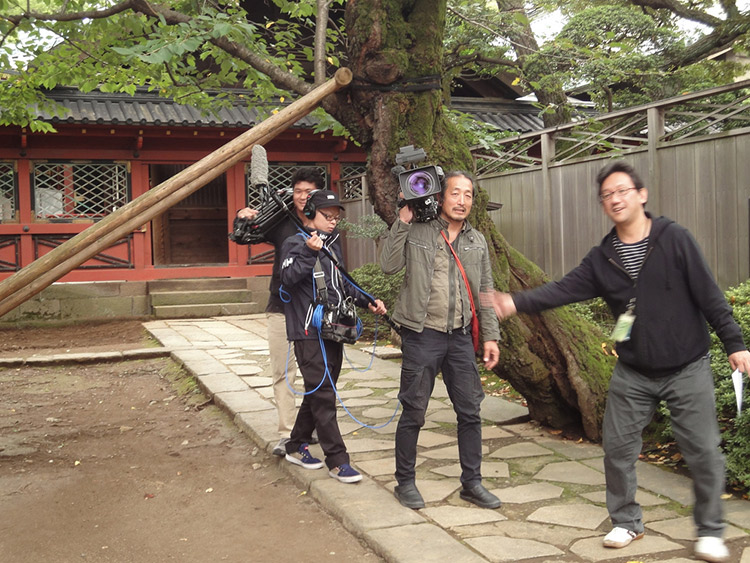 followed by a film crew