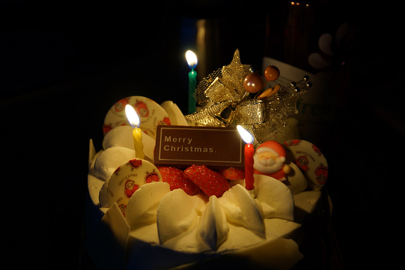 holiday cake with candles