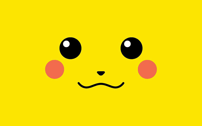 pikachus face in a yellow box,