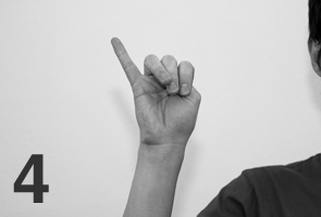 Japanese counting gesture four