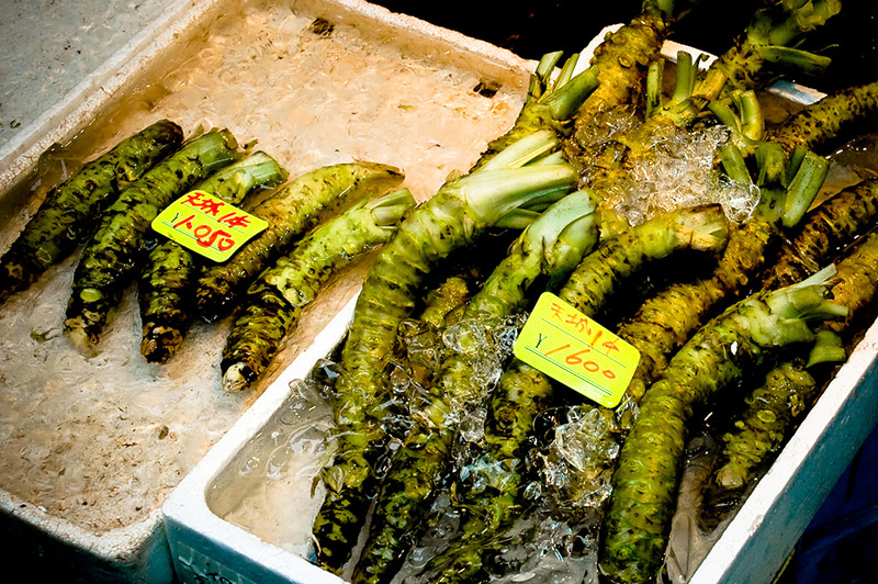 fresh wasabi at the market