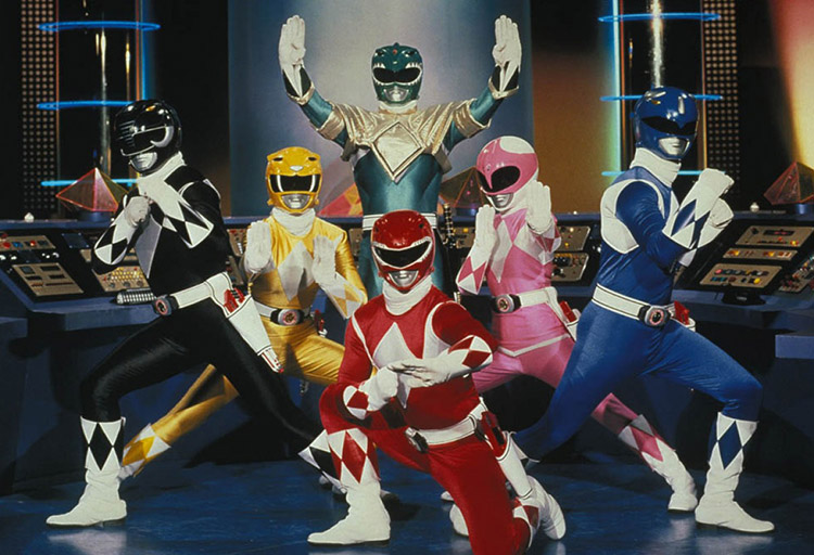 group shot of American mighty morphin power rangers