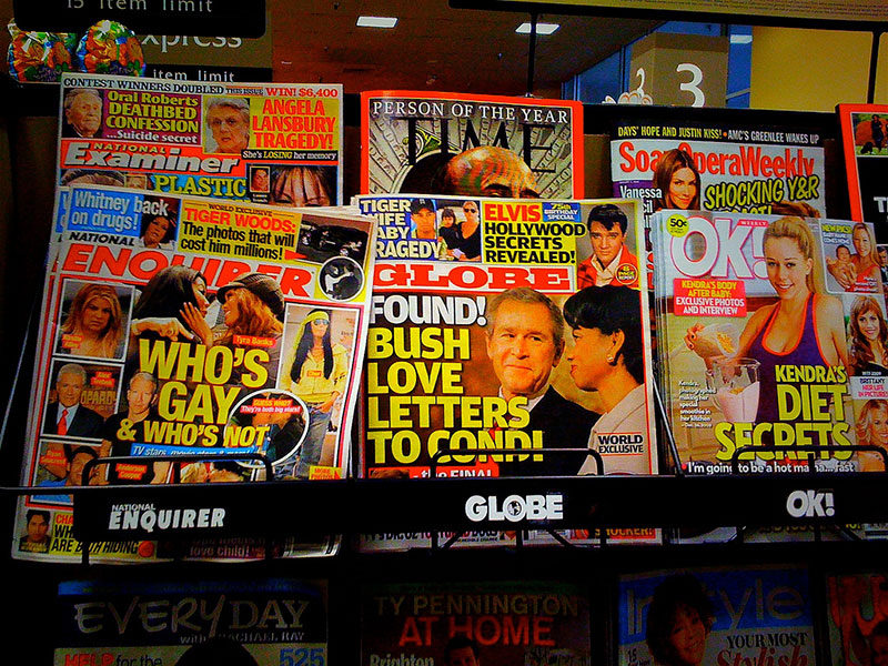 tabloids on magazine rack