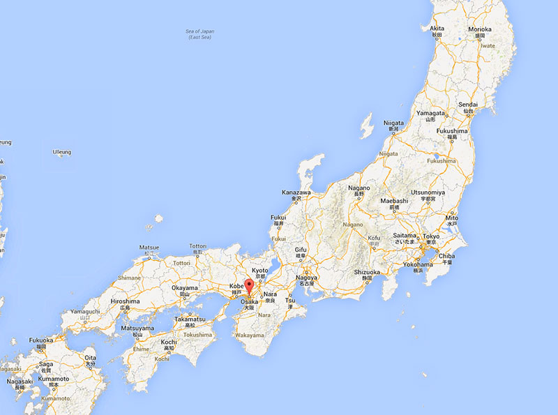 Google map of Japan with Osaka marked