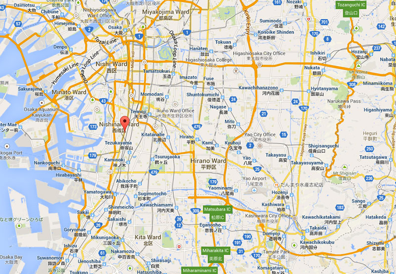 Google map of Nishinari war in Osaka Japan