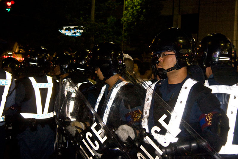 Japanese police in riot gear
