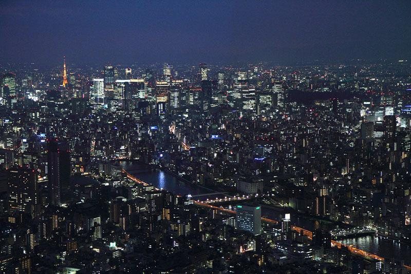 Tokyo aerial view at night