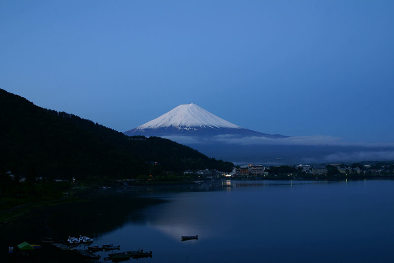 A view of Mount Fuji from across the Kawaguji Lake