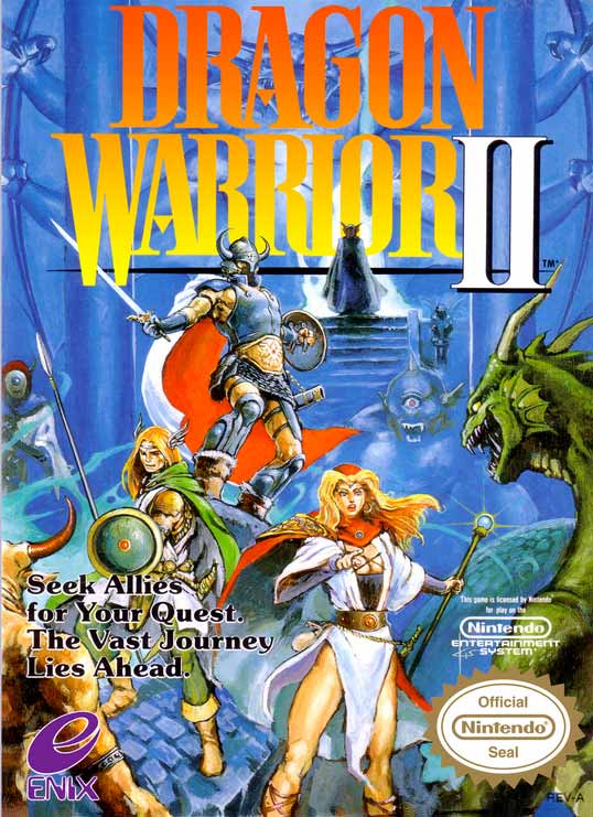 Boxart of Dragon Warrior 2 with knights and monsters
