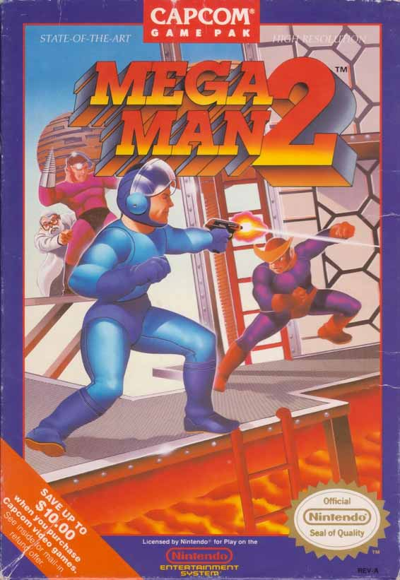 Mega Man 2 boxart with Mega Man fighting enemies