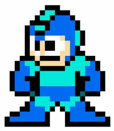 A sprite of Mega Man from Mega Man 2