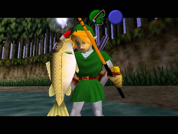 Link catching a fish in Ocarina of Time